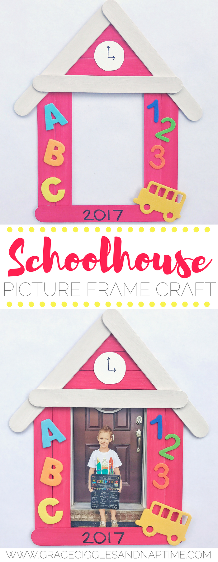 Popsicle Stick Schoolhouse Picture Frame Craft Grace
